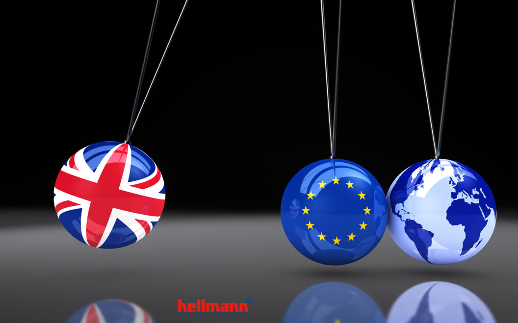 EU flag on balls and world map globe 3D illustration.